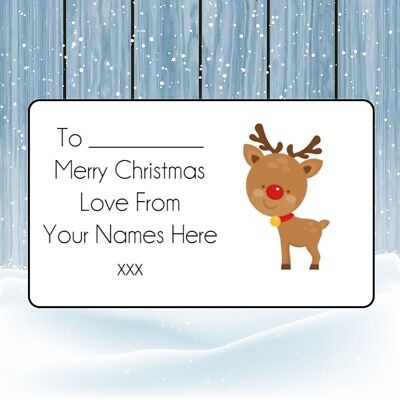 Reindeer Christmas Personalised Gift Tags, Present Stickers,Labels,wrapping,xmas • 1.99£