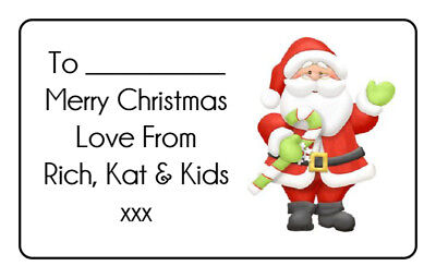 Santa Christmas Personalised Gift Tags Present Stickers Labels Wrapping Xmas • 1.99£