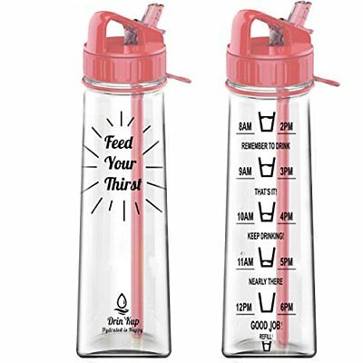 900ml BPA Free Sports Water Bottle With Straw - Intake Tracker • 5.99£