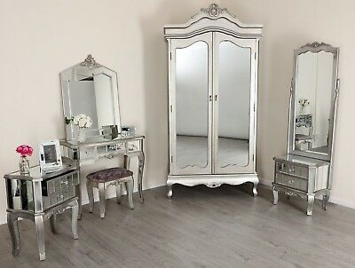 Mirrored Bed Wardrobe Dressing Table French Style Mirror Bedroom Furniture  • 159.99£