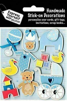 Blue Baby Boy DIY Greeting Card Toppers Stick-on Craft Decorations Stickers • 3.49£