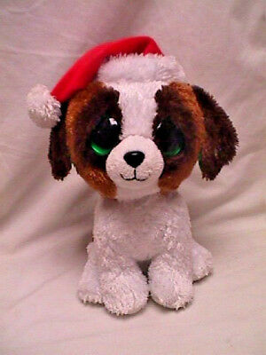 ef26b7d811a Retired Ty Beanie Boo PRESENTS Med 9 PUPPY DOG W Santa Hat Solid Eyes No