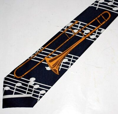 TROMBONE HORN Wind Instrument MUSICAL NOTES G CLEF Mens DRESS NECKTIE TIE New • 12.95$