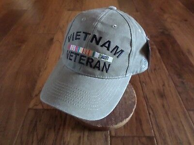 af2ed108be885 U.s Military Vietnam Veteran Hat Embroidered Military Ball Cap Khaki  Stonewashed • 15.99