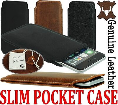 $ CDN17.47 • Buy Slim 3c Genuine Leather Pocket Pouch Case Cover Sleeve For Samsung Galaxy Phone