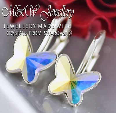 £11.99 • Buy 925 Silver Earrings Crystals From Swarovski® BUTTERFLY 8mm - Crystal AB