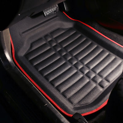 $38.99 • Buy PU Leather Floor Mats For Auto Car SUV Van Deep Tray Waterproof Black Red