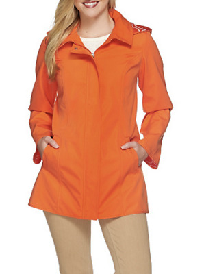 AU39.85 • Buy Dennis Basso Women SMALL Water Resistant A-Line Jacket Tigerlily Orange Raincoat
