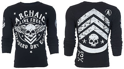 $24.99 • Buy ARCHAIC By AFFLICTION Mens LONG SLEEVE THERMAL Shirt STRONG CREST Biker $58