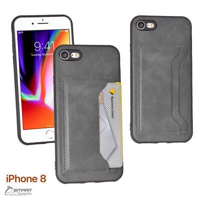AU4.99 • Buy Gray Side Pu Leather Card Holder Back Case Cover For IPhone 7 7 Plus 8 8 Plus