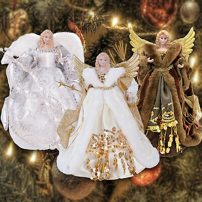 12  Christmas Tree Topper Angel Fairy Festive Xmas Tree Top Ornament Decoration • 11.95£