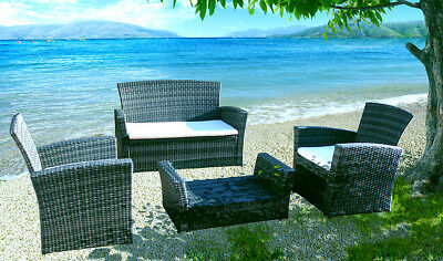 AU410 • Buy 4PCS Set Of Outdoor Furniture Sofa And Coffee Table Wicker Grey Rattan Garden