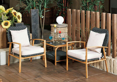 AU381.99 • Buy 3PCS Set Of Outdoor Furniture Chairs And Coffee Table Wicker Cushion Rattan