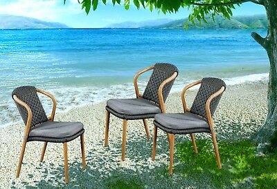 AU460.99 • Buy 4PCS Outdoor Furniture Wicker Chair Stackable Dining Chairs Rattan Garden Patio