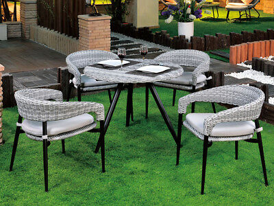 AU609.99 • Buy 5PCS Outdoor Furniture Dining Chairs Round Table Wicker Cushion Garden Patio