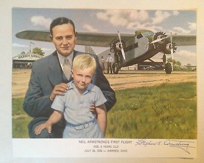 $7499 • Buy Apollo 11 Astronaut Neil Armstrong's First Flight With Dad Signed Illustration
