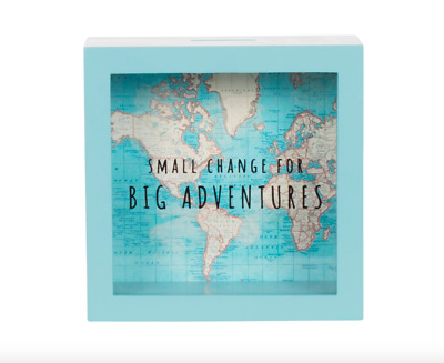 Sass & Belle Vintage Map Big Adventures Money Box Piggy Bank Travel Cash Saving • 10.99£