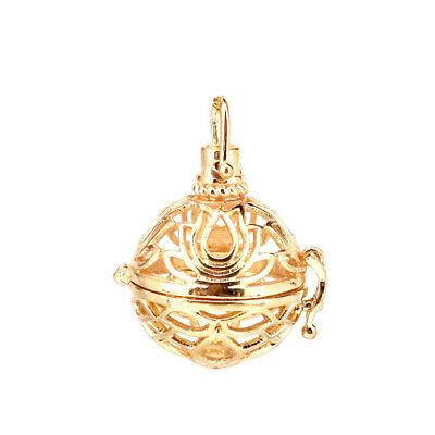 $ CDN2.97 • Buy B291 Gold Fit 19mm Lotus Flower Aroma Diffuser Beads Cage Floating Locket