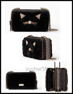 $ CDN114.68 • Buy Kate Spade Brighton Lane Marigold Black Cat Pouf Crossbody Bag Nwt $259