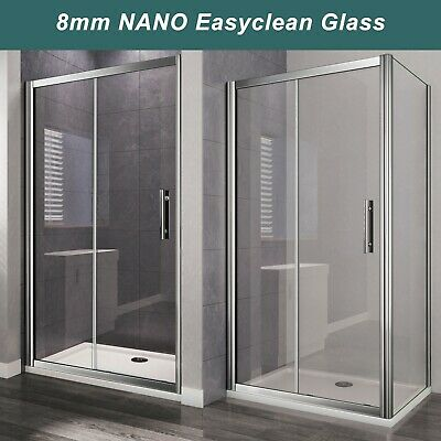 £93.60 • Buy Sliding Shower Door 6/8mm Glass Cubicle Screen Shower Enclosure Side Panel Tray