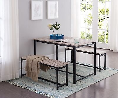 $165.99 • Buy Kings Brand Furniture –3 Piece Dining Set, Table With 2 Benches, Black / Brown