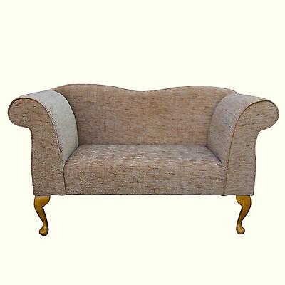 49  Small Double Ended Chaise Longue Compact Sofa Seat Chair Blush Fabric UK • 299£