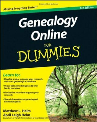 Genealogy Online For Dummies By Helm, April Leigh Paperback Book The Cheap Fast • 5.49£