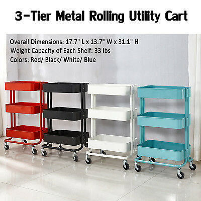 34cd394bd19 3-Tier Metal Rolling Utility Cart Mobile Storage Organizer Trolley Cart  Kitchen • 49.99