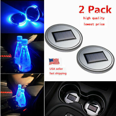$14.99 • Buy 2Pc Solar Cup Pad Car Accessories LED Light Cover Interior Decoration Lights US