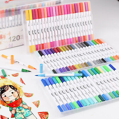 $42.11 • Buy 120 Color Dual Tip Brush Pens Watercolor Art Drawing Markers Artist Sketch Pens