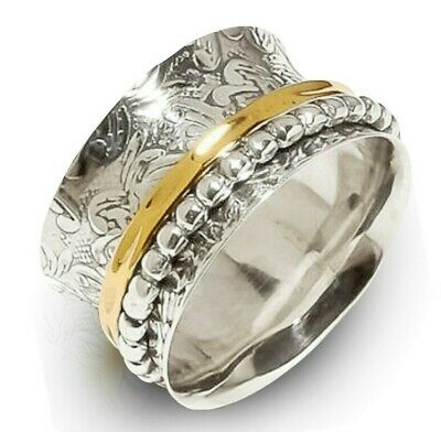 $8.94 • Buy 925 Sterling Silver Spinner Ring Wide Band Meditation Statement Jewelry GS93