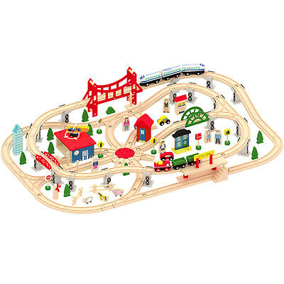 Wooden 130 Pcs Busy City & Train Set Railway Track Toy Brio Bigjigs Compatible  • 59.99£