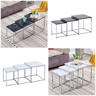 Nest Of 3 Tables Chrome Legs High Gloss Square Top Living Room Black White  New  • 39.99£