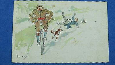 Phil May Comic Postcard 1900s Vintage Gents Bicycle Cycling Theme • 10.35£