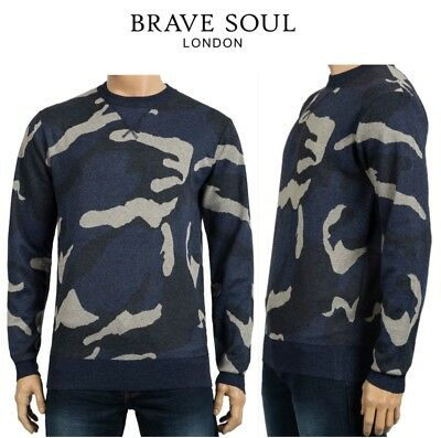 Mens Brave Soul Knitted Camouflage Print Crew Neck Jumper Top Sweater UK S To XL • 9.99£