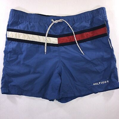 6cb563f7f6 Tommy Hilfiger Vintage Trunks Blue With Flag Mens Swim Shorts XL EUC Mesh  Lined • 19.88