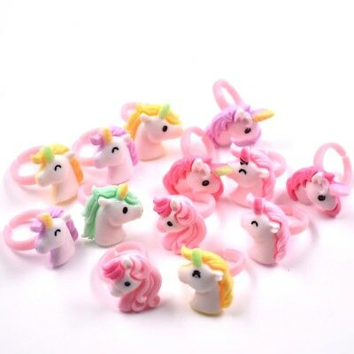 £1.43 • Buy 10PC Mix Color Girls' Ring Cartoon Unicorn Pony Resin Open Rings For Kids Gift