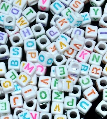 £1.99 • Buy AAA Alphabet COLOURFUL Letter Beads, 6 Mm, White Cube,  Mixed & Single  A, B...Z
