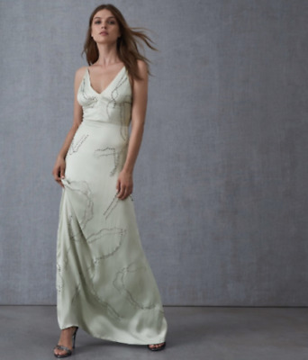 £24.99 • Buy NEW Reiss Mint Embellished Wedding Cocktail Maxi Dress Size 6 8 10 RRP £350
