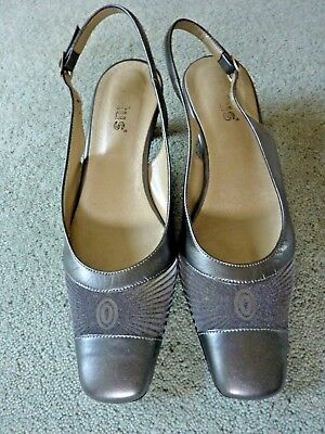 Ladies Lotus Pewter Sling-back Heeled Shoes, Size 4 • 10£