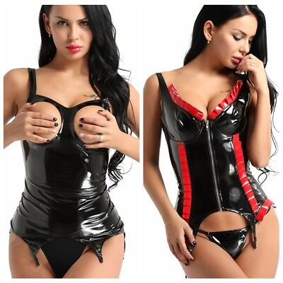 £14.58 • Buy Sexy Women's Tight Cupless Corset Faux Leather Corset Suspenders Clips Stocking