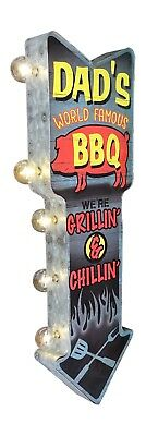 Dad's BBQ Grillin & Chillin Metal Sign W/ LED Lights, Double Sided Arrow Shaped • 54.99$