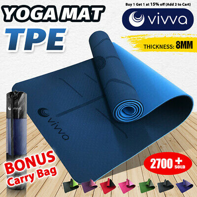 AU27.99 • Buy VIVA 8mm TPE Yoga Mat Exercise Fitness Gym Pilates Non Slip Dual Layer