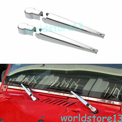 $18.69 • Buy Fit For 2007-2018 Jeep Wrangler JK ABS Chrome Front Wiper Cover Trim Garnish