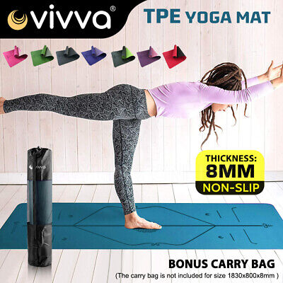 AU28 • Buy VIVA TPE Yoga Mat  Eco Friendly Exercise Fitness Gym Pilates Non Slip Dual Layer