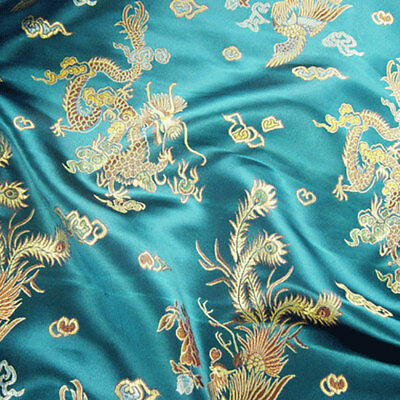 £9.59 • Buy Chinese Fabric Dragon Brocade Silky Material Satin Oriental Embroidered 112cm