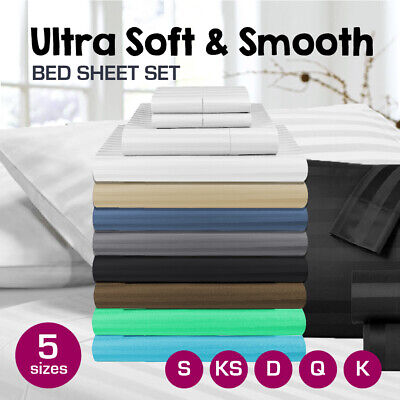 AU34 • Buy 1000TC Microfibre 1cm Stripe Single/KS/Double/Queen/King Fitted, Flat  Sheet Set