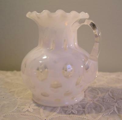 $25 • Buy Antique White Opalescent Glass Pitcher Applied Handle Coin Dot Pattern HTF 4