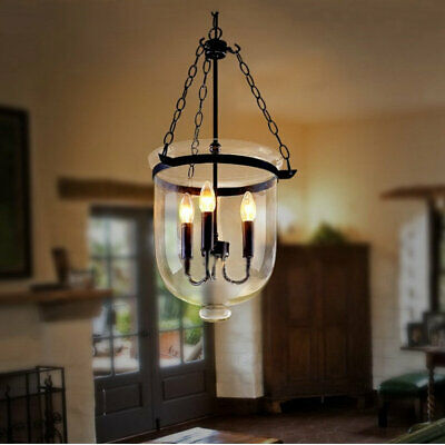 $159.99 • Buy Rustic Clear Glass Bell Jar Large Pendant Light Lighting With Candle Light 110V
