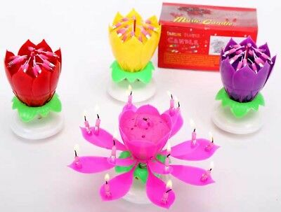 $ CDN4.22 • Buy Musical Candle Cake Topper Lotus Flower Rotating Candles Party Birthday Gift